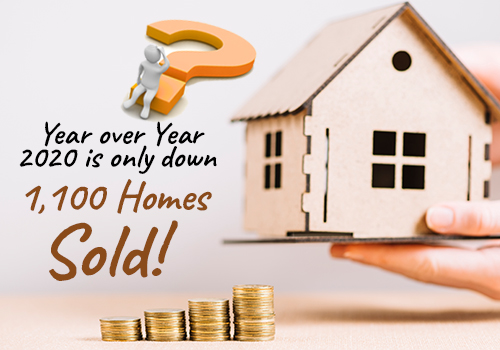 Year over Year 2020 is only down 1,100 Homes Sold! How is that Possible
